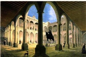 Interior de la Real y Pontificia Universidad de México, según una litografía de Claudio Linatti (siglo XIX). Fundada en 1551, es una de las más antiguas universidades fundadas por la Corona española en la época indiana. Ni Inglaterra ni Portugal, ni las otras potencias coloniales menores, fundaron universidades en América.