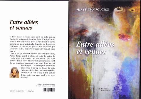 Portada y Contraportada del libro Entre idas y venidas presentado en francés, es su edición definitiva.
